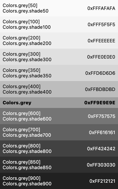 grey constant - Colors class - material library - Dart API