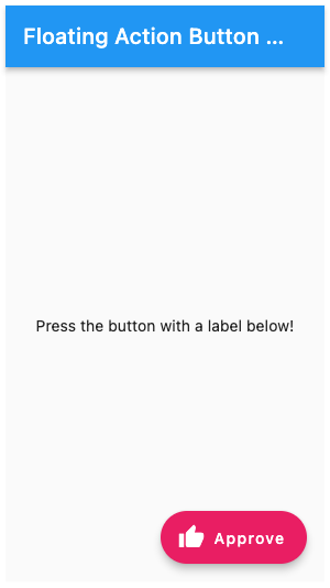 A screenshot of a pink floating action button with a thumbs up icon and a label that reads